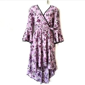 June & Hudson lilac bell sleeve hi-low wrap dress